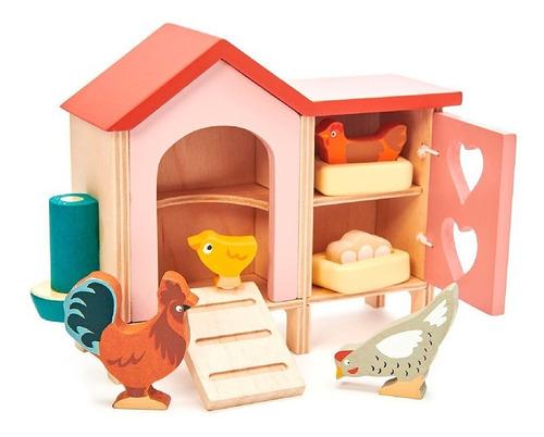 Imagen 1 de 4 de Juguete Gallinero Tender Leaf Toys 9pcs De Madera Febo