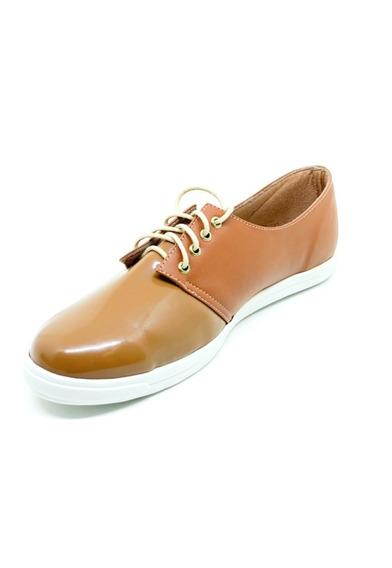 Sapatos Femininos Tenis Casual Verniz Corino Marrom Dani K