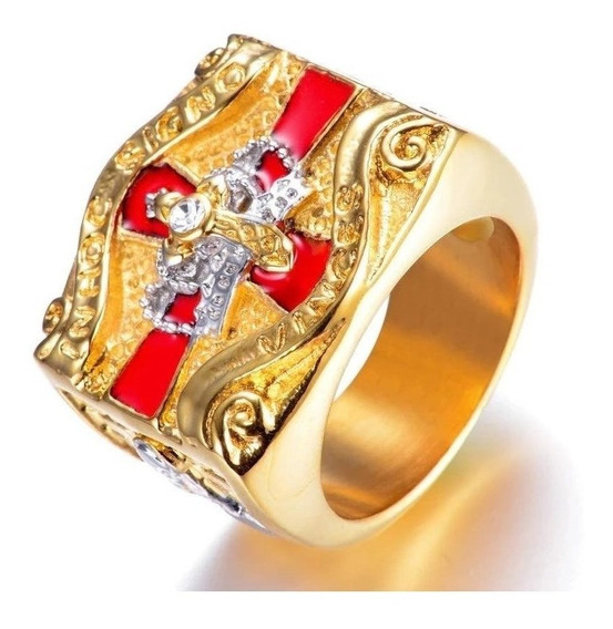 Anel Masculino Templário Cruz De Malta Titânio Ouro Banho