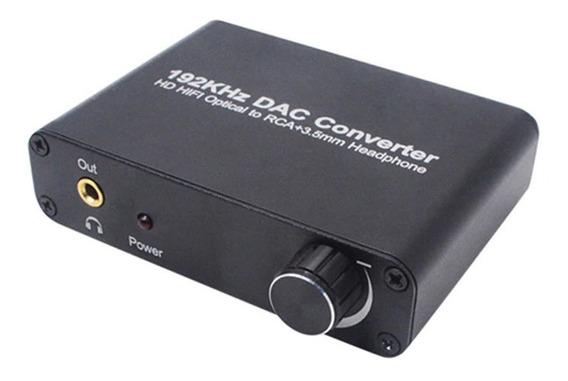 Conversor Audio Digital Con Volumen 192khz Optico 3.5mm Rca