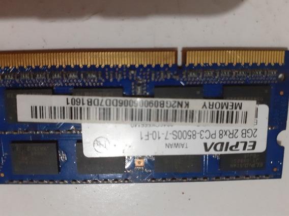Memoria Ram 2 Gb Para Notbook Ddr 3 Ou Pc 3 8500elpida