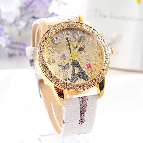 Relógio Feminino Paris Borboleta Flores Charmoso Branco