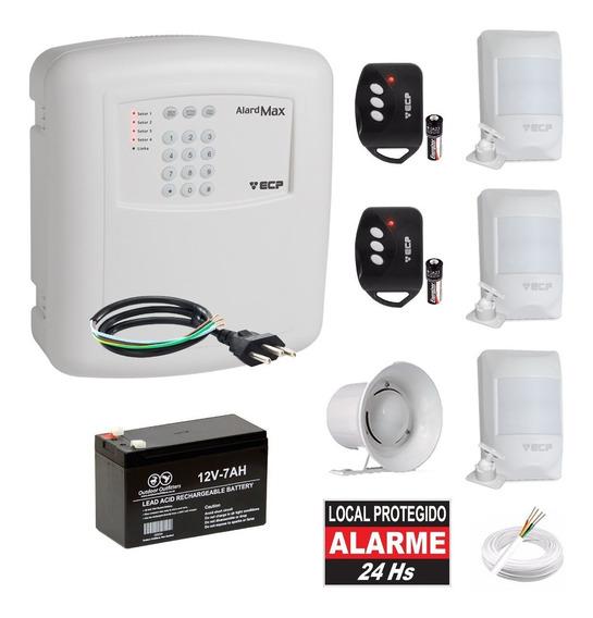 Kit Alarme Residencial Ecp Com Discadora 3 Sensores Infra