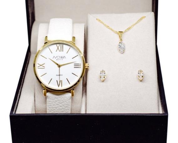 Relógio Feminino Original Nw1405k Branco Com Kit Joia