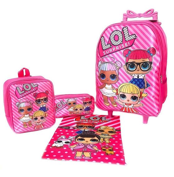 Mochila Kit Infantil G Com Roda Lol + Brinde Frete Grátis L2