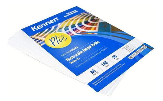 Papel Ilustración Inkjet Brillo Bifaz A4 140gr Kennen 100hjs