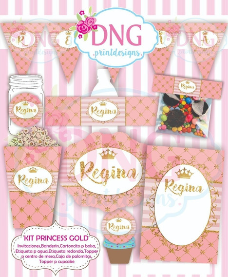 Kit Imprimible Invitaciones Candy Bar Png / Princesa Dorada