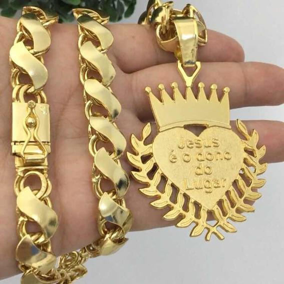Cordão Banhado A Ouro Friso S Mc Poze 70cm 12mm Promoção