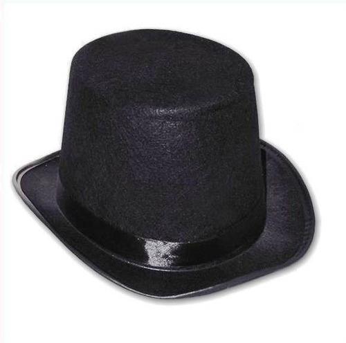 Sombrero Galera Afelpada Negra De Copa Alta X 2 Unidades.