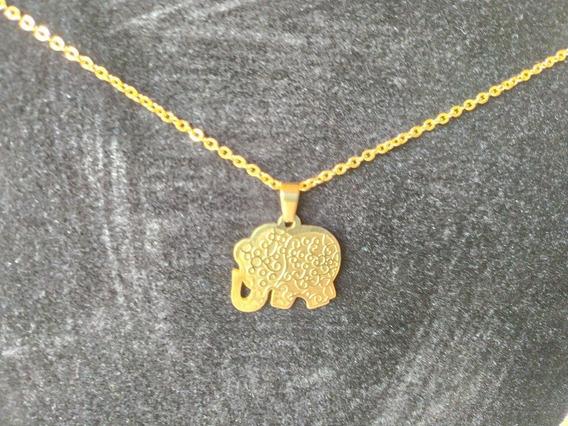 Gargantilha Feminina Banhado A Ouro Com Pingente Elefante