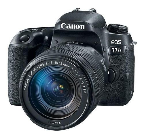 Canon EOS 77D 18-135mm IS USM Kit DSLR cor preto