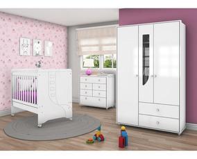 Quarto De Bebê Completo Com Guarda Roupa 3 Portas, Ff