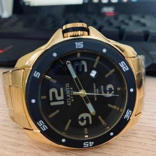 Relogio Masculino Atlantis G3216 Dourado Original+caixa Pers