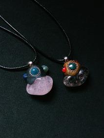 Colar Cordão Cristal Pedra Natural Boho Hippie Artesanato