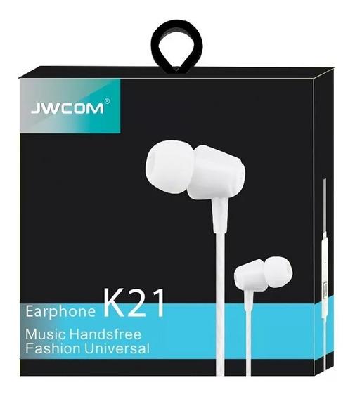 Fone De Ouvido Intra Auricular Com Microfone Jwcom Branco