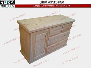 Chifonier Ropero Chato 1.20x0.45x0.80 Macizo Pino Roka