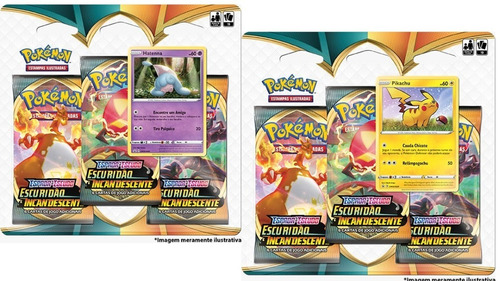 Pokémon Triple Pack Escuridão Incandescente Pikachu Hatenna