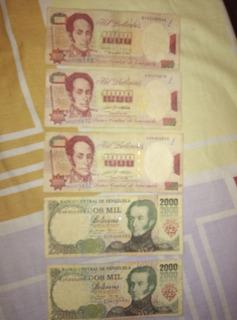 Billetes Bs. 5000 A 50.000 Antiguos Coleccion. Combo 3