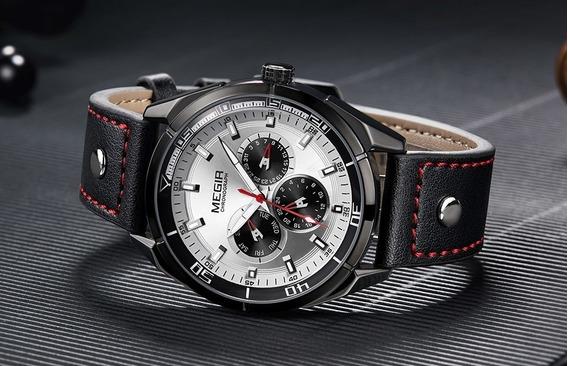 Relógio De Pulso Megir 2072 Militar/casual Couro Original