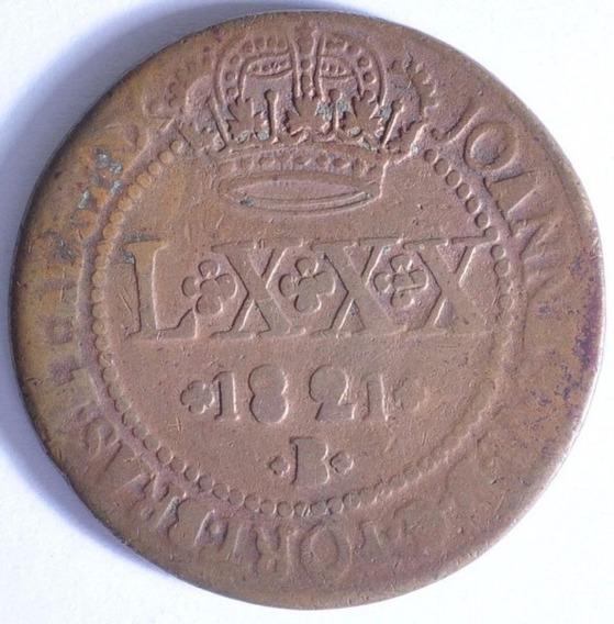 Moeda De Cobre Brasil. Lxxx Réis - 1821b