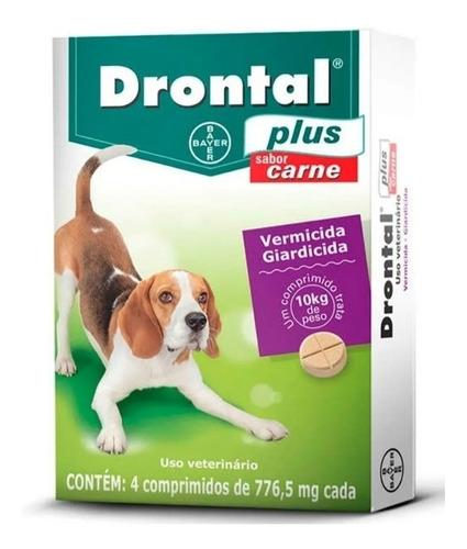 Imagem 1 de 2 de Vermífugo Bayer Drontal Plus Carne - Cães 10 Kg 4 Comp.