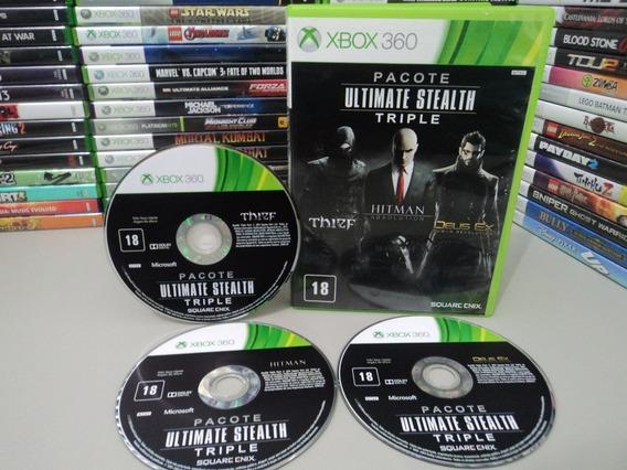 Pacote Ultimate Stealth Xbox 360 Jogo Thief, Hitman, Deus Ex