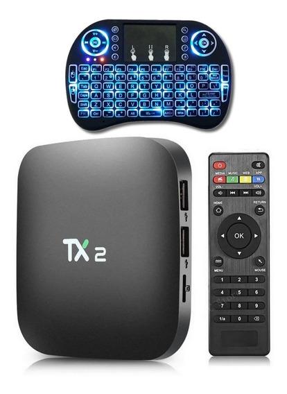 Aparelho Tv Box 4k Tx2 Transforma Smart Tv Android + Teclado