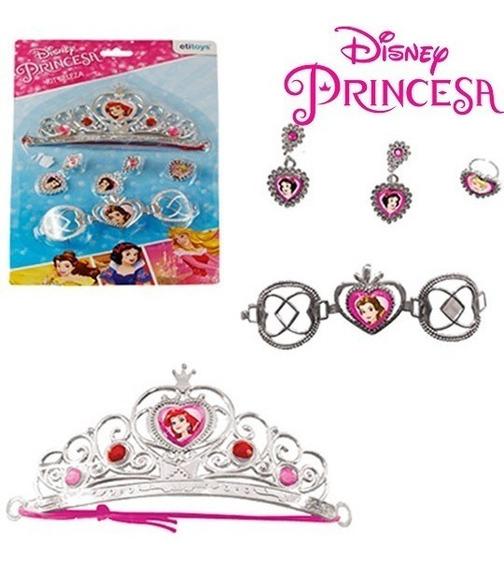 Brinquedo Beleza Tiara Coroa E Acessórios 5 Peças Princesas