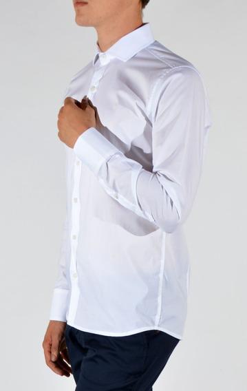 Camisa Lisa Slim Fit Confort Manga Larga Hombre Romana