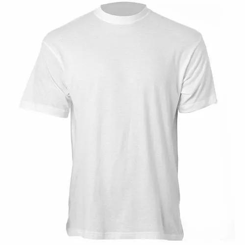 Camisa Lisa Branca 100% Poliester Para Sublimação Gola O