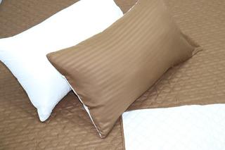 Comforter Café Líneas Beige Microfibra Queen Doble Faz