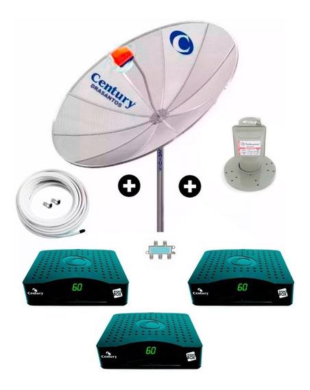 3 Receptor + Antena Parabolica Century 170cm + Mult + Cabo