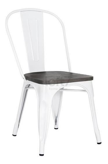 Cadeira Tolix Iron Assento Madeira Branco