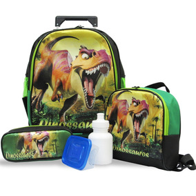 Kit Mochila De Rodinhas Dinossauro Tam M