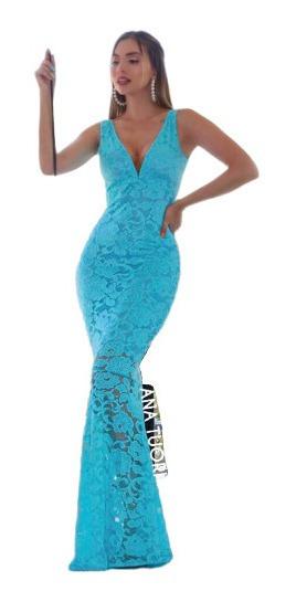 Vestido Madrinha Tiffany Festa Longo Sereia Renda Decote #32