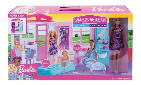 Playset E Boneca Barbie Casa Glamour Da Barbie Fxg55 Mattel