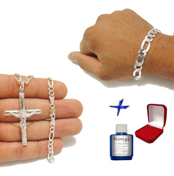 Corrente Grumet 3x1 6mm Crucifixo Pulseira 10mm Prata +lp+cx