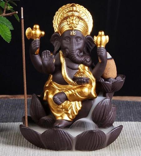 Imagem 1 de 4 de Incensario Elefante Dourad Incenso Reverso Invertido Refluxo