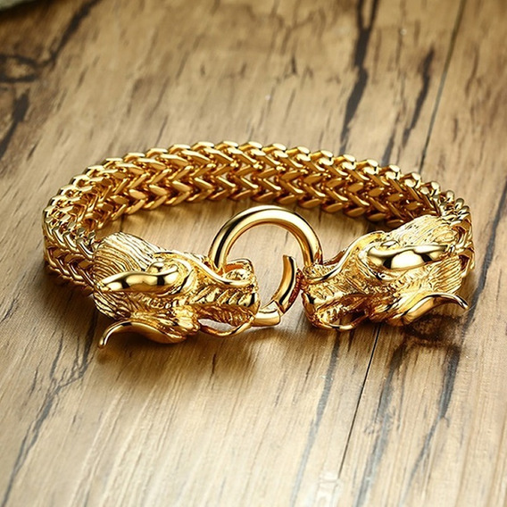 Pulseira Feminina Bracelete Aço Inoxidável Dragão Luxo C234