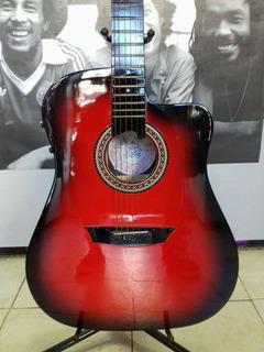 Guitarra Electroacústica Roja Esfumada Con Corte A103