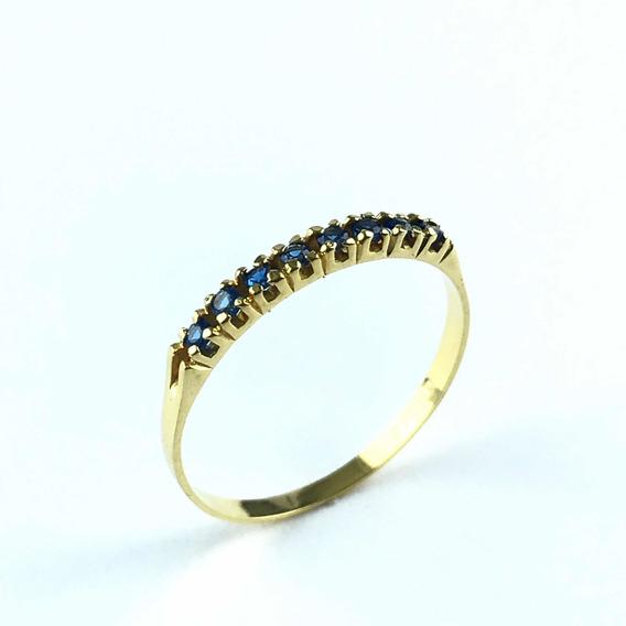Aparador Meia Aliança Safira Azul Zirconia Ouro 18k Ref: 03-123