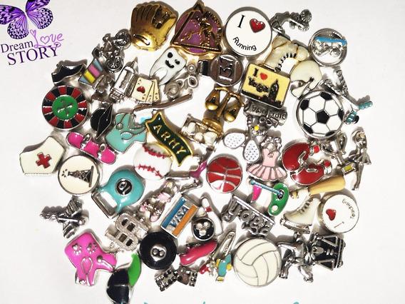 Paquete De 55 Charms Para Lockets Deportes Y Profesiones