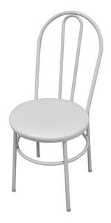 Cadeira Milk Cozinha Metal Aço Tubola Redonda Courino Branca
