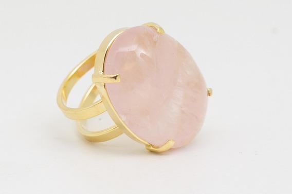 Anel Ajustável Cristal Quartzo Rosa No Banho De Ouro