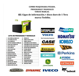 Sis Caterpillar + Komatsu, Kobelco, Volvo, Case + Disco Duro