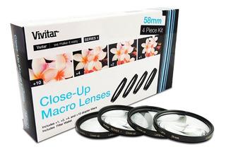 Lentillas Macro 58mm Vivitar +1 +2 +4 +10 Con Estuche