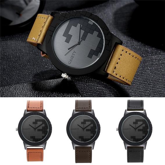 Relógio Masculino Gaiety Pulseira De Couro Estilo Casio