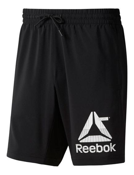 Reebok Short Running Hombre Wor Woven Graphic Negro