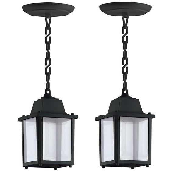 2 Luminaria Pendente Preto Externo Colonial Industrial Alz14