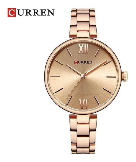 Relógio Feminino Dourado Curren 9017